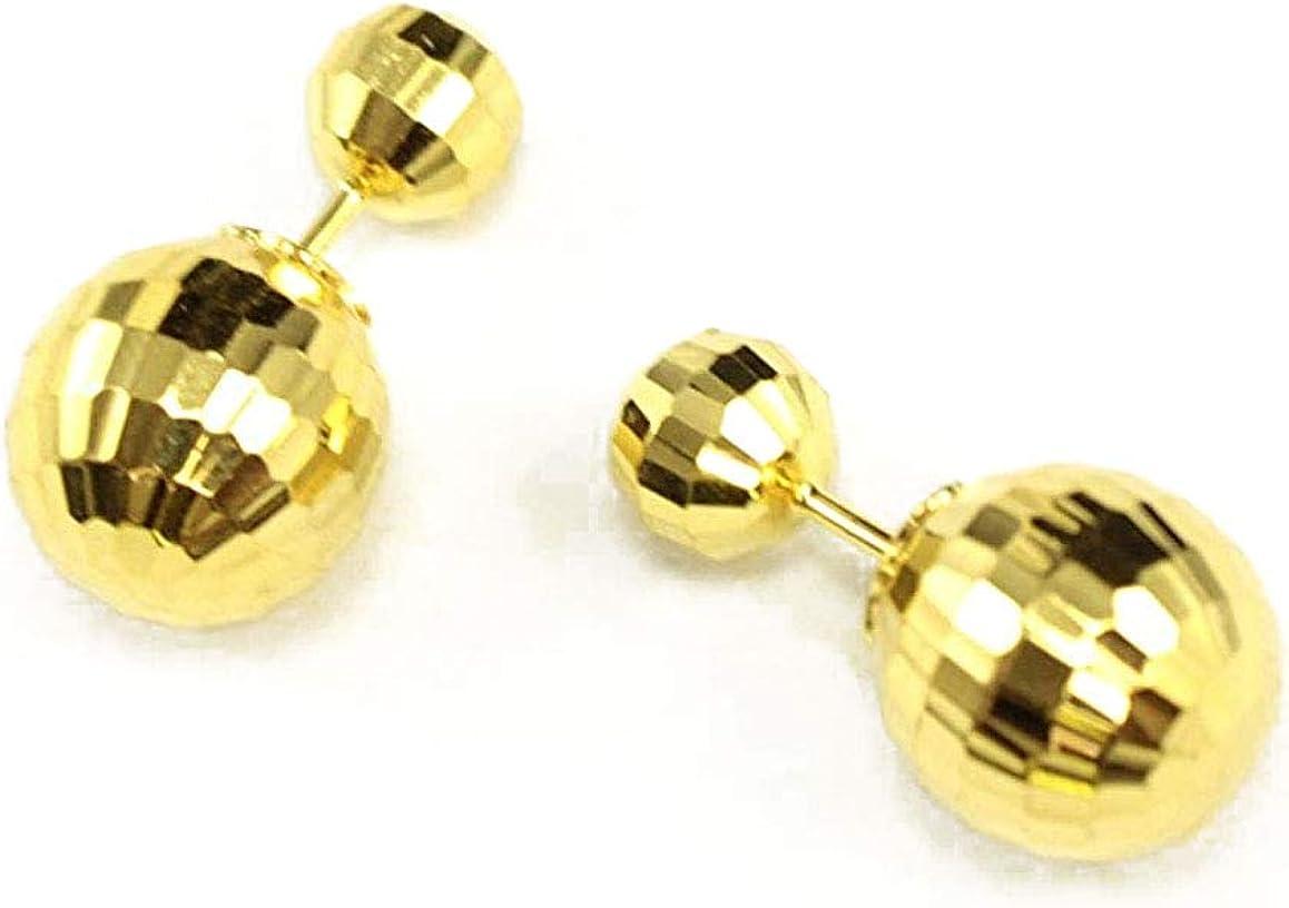 14k Yellow Gold Double Sided Fancy Diamond Cut Ball Earrings