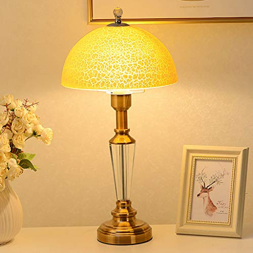 Lámpara de mesa de vidrio estadounidense lámpara de cabecera de dormitorio LED moderna, sala de estar caliente europea de hierro forjado lámpara de mesa lámpara de mesa de cobre prefabricada(50x30cm)
