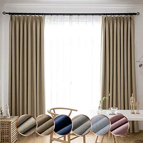 Leadtimes Bedroom Blackout Linen Curtains Grommet Room Darkening Drapery Panels, Beige, 84 x 63 inch x 2 Panels