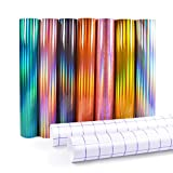 Holographic Adhesive Vinyl 12'x12' Craft Vinyl Sheets Compatible with All Cutting Machines 7 Assorted Colors with 2 Transfer Paper