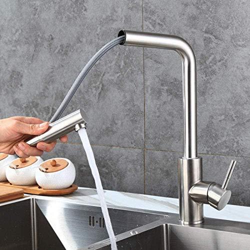 Grifo de cocina 304 Acero inoxidable extraíble Grifo de fregadero de cocina de un solo orificio Fregadero de 7 tubos