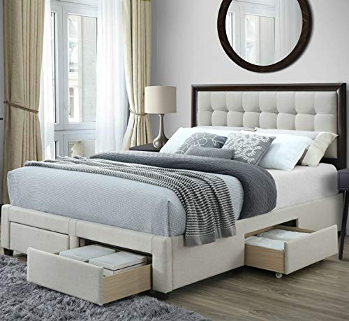 DG Casa Soloman Upholstered Panel Bed Frame with Storage Drawers and Wood Trim Tufted Headboard, Queen Size in Beige Linen Style Fabric