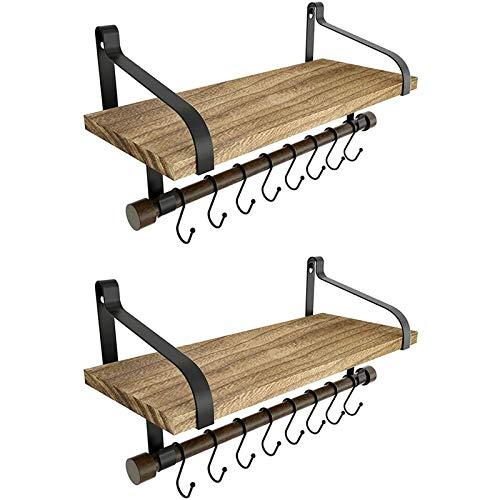 DGDF 2 estantes de pared para almacenamiento – Estante de madera rústica para especias de cocina con toallero y 8 ganchos extraíbles para organizar utensilios de cocina o tazas flotantes