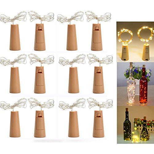 LED Flaschenlicht Stimmungslichter, 12 Stück LED Flaschenlicht Licht, 200cm Licht mit 20 Warmweiß LEDs Lichterkette, Ideal für Flasche DIY, Party, Weihnachten, Halloween, Hochzeit