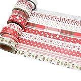 k-limit 10 Set Washi Tape Rollos de Washi Tape, Cinta Decorativa Autoadhesivo, Cinta de enmascarar, Masking Tape Scrapbooking DIY Washitape Scrapbooking DIY Navidad Christmas Idea del Regalo 9643