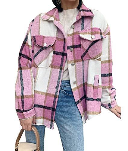 ORANDESIGNE Rosa Kariertes Taschen Knöpfen Langarm Oversize Bluse Mantel Hemdjacke Holzfällerjacke Damen Mode
