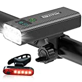 EBUYFIRE Bike Lights USB Rechargeable,1200 Lumen Bike Light Front and Back,IPX5 Waterproof,5 Light Modes,LED Digital Display Bicycle Headlight and Taillight Set with 5200mAh Power Bank Function