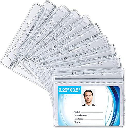 ID Card Name Tag Badge Holder, Waterproof Sealable Clear Plastic Horizontal ID Card Holder for Work ID, Key Card, Driver's License, Not for CDC Vaccine Cards (Horizontal 10 Pack)