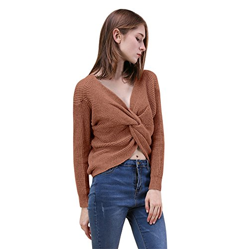 Wwricotta Women V Neck Twisted Back Sweater Pullovers Long Sleeve Knitted Sweaters Top