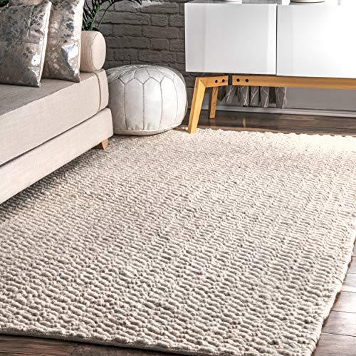 nuLOOM Glendora Chevron Wool Area Rug, 8' 6 x 11' 6, Ivory
