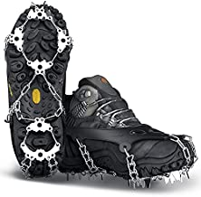 Wirezoll Crampons, Stainless Steel Ice Traction Cleats for Snow Boots and Shoes, Safe Protect Grips for Hiking Fishing Walking Mountaineering etc. (Black, L)