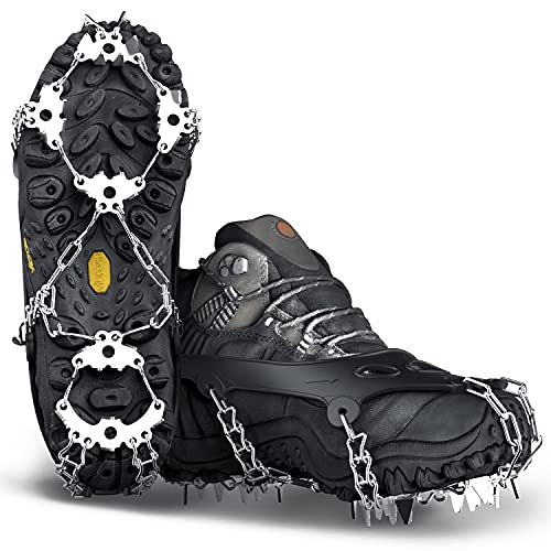 Wirezoll Crampons, Stainless Steel Ice Traction Cleats for Snow Boots and Shoes, Safe Protect Grips for Hiking Fishing Walking Mountaineering etc....