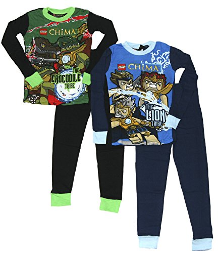 LEGO Boy's Legends of Chima Tight Fit Cotton 4 Piece Pajama Set (4, Blue/Green)