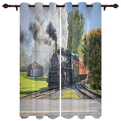 Curtains for Living Room 63 Inch Length Drapes, Steam Train Window Treatments Curtain Panels, Grommet Top, 2 Pack