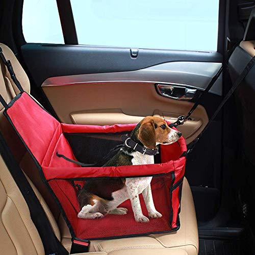 IvyLife Seggiolino Auto per Cane Coprisedile per Cane Animale Borsa Anteriore Singolo Coperta Telo per Proteggere Sedile di Automobile Impermeabile Rosso
