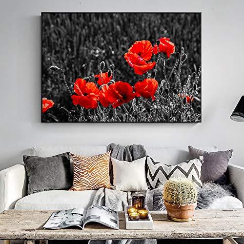 Klaprozen canvasschilderijen muurkunst rode klaprozen linnen schilderij aan de muur moderne decoratie schilderij frameloos schilderwerk