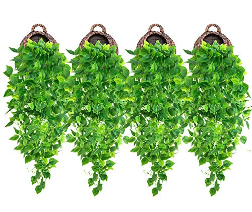 4 Pcs Artificial Hanging Plants 3.6ft Fake Ivy Vines Hanging Wall Plants Fake Ivy Green Leaves Room Decor Home Garden Wedding Party Indoor Outdoor Decorations (Basket Not Included)