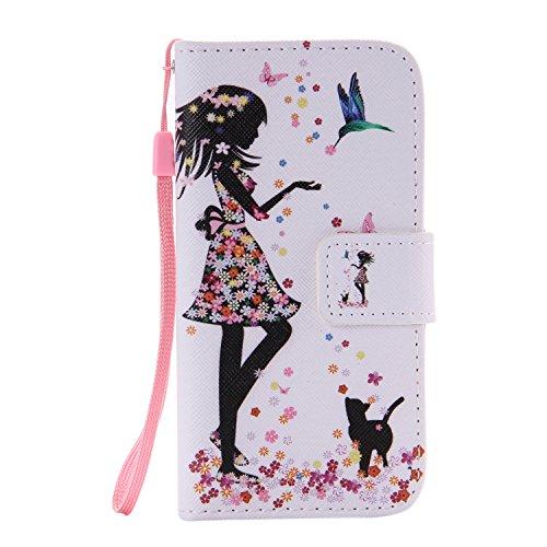 ISAKEN Kompatibel mit Galaxy S5 Mini Hülle, PU Leder Flip Cover Brieftasche Geldbörse Handyhülle Tasche Case Schutzhülle mit Handschlaufe Standfunktion für Samsung Galaxy S5 Mini - Mädchen Katze