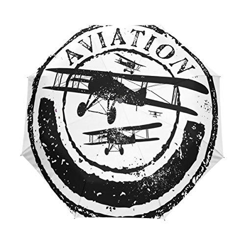 SUHETI Paraguas automático de Apertura/Cierre,Diseño de Sello Grunge con aviación de Palabra y Siluetas de avión,Paraguas pequeño Plegable a Prueba de Viento