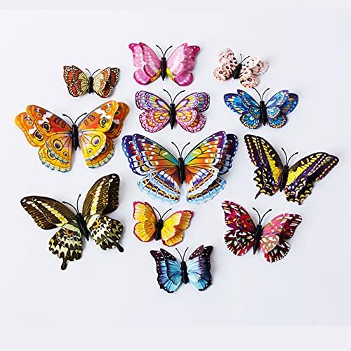 YNA Pegatinas De Pared Tridimensionales 12 Piezas 3D Doble Capa Luminosa Mariposa Letra Simulación Joyería PVC Impermeable Decoración Autoadhesiva Pintura Jardín Infantes