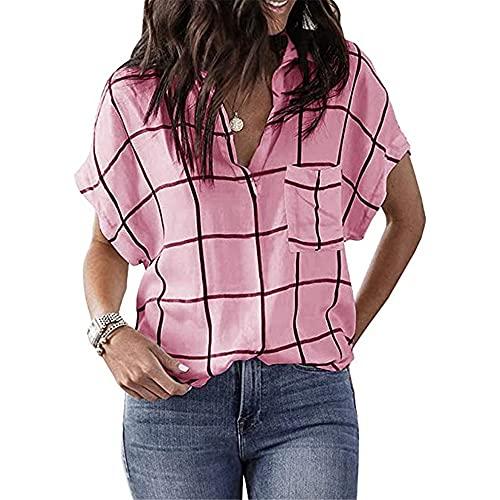 PRJN Camisa a Cuadros con Cuello en V para Mujer Camisa Casual de Verano Blusa de Manga Corta Camisetas de Manga Corta Camisas a Cuadros Tops Casuales a Cuadros Blusas clásicas para Damas a Cuadros