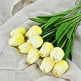 Kcanamgal 10PCS Tulip Artificial Flower Real Touch Artificial Bouquet Flor Falsa Flor Decorativa Tarjeta de Felicitación para Boda,F
