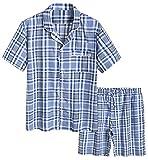 Latuza Men's Cotton Woven Short Sleepwear Pajama Set M Blue Plaid