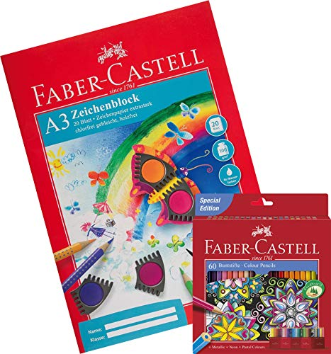Faber-Castell Buntstift Castle, 60er Kartonetui (60 Stifte + A3 Zeichenblock)