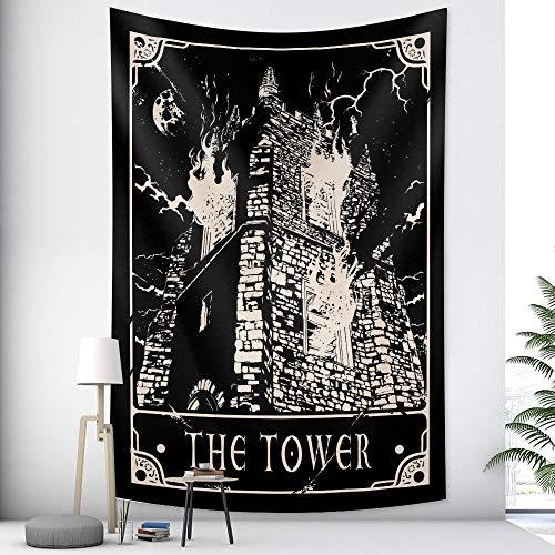 KHKJ Tapiz de Mandala Indio Tapiz de brujería decoración de Estilo Bohemio decoración del hogar colchón Hippie A14 95x73cm