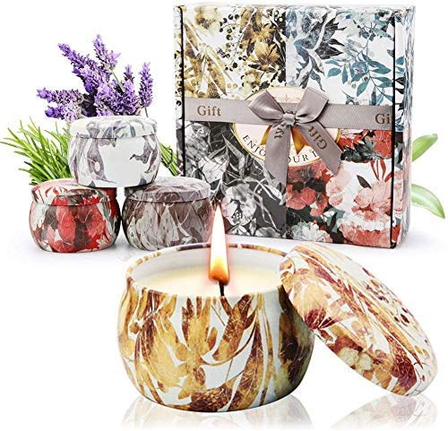 Innoo Tech Duftkerze Set Aroma Kerzen 4 Stück Geschenkset, natürliches Soja-Wachs Lang anhaltendes, Handgemachte Aromatherapiekerze für Aromatherapie, Bad und Yoga, Perfektes Geschenksets