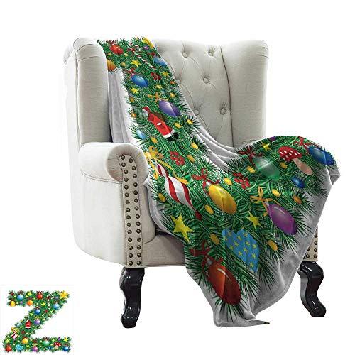 Sandfreie Stranddecke, Buchstabe Z, traditionelles Design, mit bunten Ornamenten, Weihnachtsmann, mehrfarbig, gemütlich, hypoallergen, leicht zu tragen, Decke 152,4 x 177,8 cm