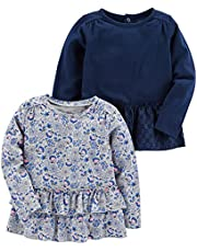 Simple Joys by Carter's Camiseta de Manga Larga Bebé-Niñas, Pack de 2