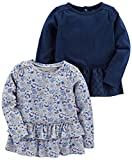 Simple Joys by Carter's Multi-Pack Long Sleeve Shirts Camiseta, Gris/Azul Marino, Floral, 5 años, 2
