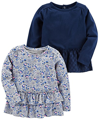 Simple Joys by Carter's Baby Girls' Toddler 2-Pack Long Sleeve Tops, Gray Floral, Navy, 2T