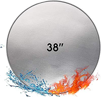 Fire Pit Mat Fireproof Grill Mat 38'' Round 3 Layers BBQ Splatter Protector Pad for Ground,Patio,Deck,Lawn,Wooden Floor,Garden,Camping,Outdoor Foldable Heatproof Water Resistant Fire Pit Accessories by ENGPOW