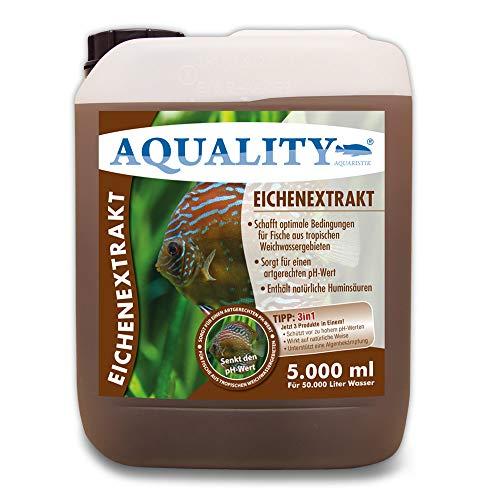 AQUALITY Aquarium Eichenextrakt (Senkt den pH-Wert für artgerechtes und weiches Wasser - Optimal für Fische aus tropischen Weichwassergebieten Diskus und Skalare), Inhalt:5 Liter
