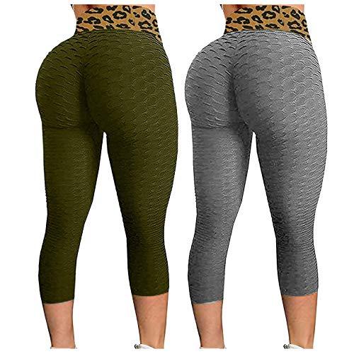 Banbry 2 Pack Damen Sport Leggings Leopard Hohe Taille Honeycomb Scrunch Fitnesshose Sporthose Slim Fit Yoga Hose Laufhose Fitnesshose Jogginghose mit Bauchkontrolle