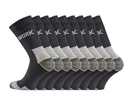 TippTexx24 6/9/12/15/18/21 Paar Arbeitssocken, Original-Worker-Socks, BLACK Edition (39/42, schwarz 9 Paar)