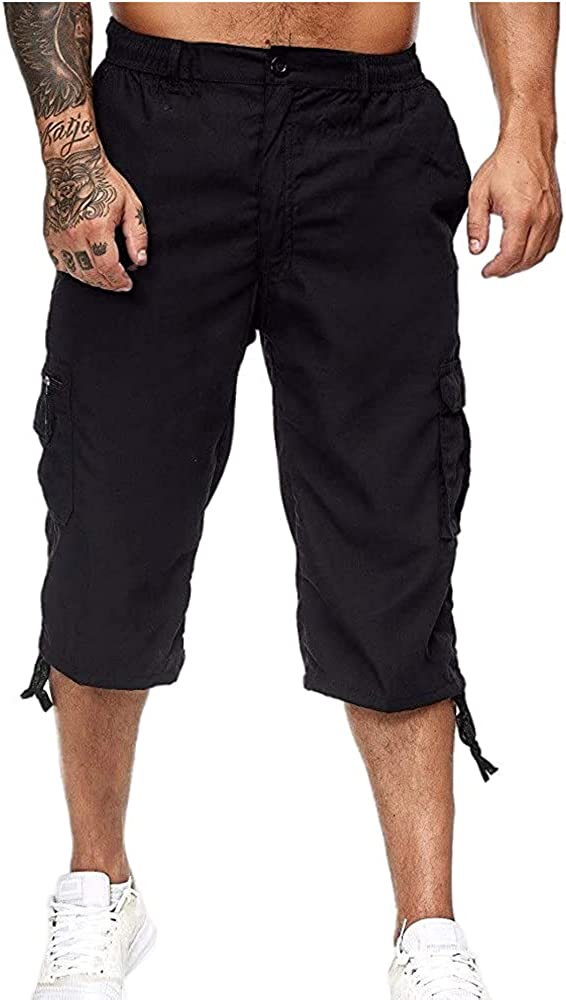 NP Men's Casual Pants Multi-Pocket Straight Overalls Loose Outdoor Shorts
