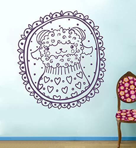 ganlanshu Niedliche Tier Wandtattoos Schafe Herz Rahmen Wandaufkleber Vinyl Kinder Kinderzimmer selbst Tier Muster abnehmbare Wanddekoration 63cmX69cm