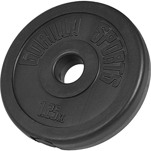 GORILLA SPORTS® Hantelscheibe Kunststoff 1,25 kg Gewicht mit 30/31 mm Bohrung