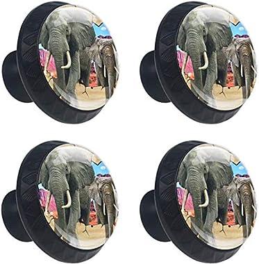 """4 Pack Round Kitchen Cabinet Knobs Pulls 3D African Elephant (1-37/100"""" Diameter) - Dresser Drawer/Door Hardware - DIY Pattern Customization"""
