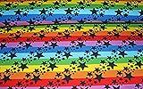 Jerseystoff Regenbogen Sterne   22,50 €/m   1,50 Meter
