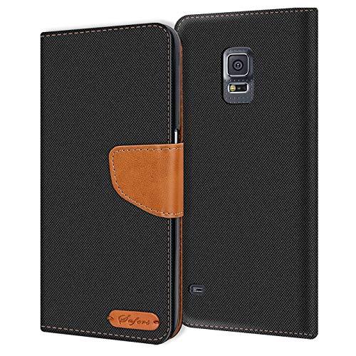 Verco Galaxy S5 Mini Hülle, Schutzhülle für Samsung Galaxy S5 Mini Tasche Denim Textil Book Hülle Flip Hülle - Klapphülle Schwarz