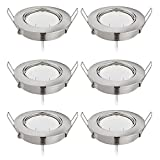 HCFEI Lot de 6 Spots LED Encastrable 6x5W 450Lm, Orientable/Dimmable, Ultra Plat Rond 220V, Naturweiß 4000K, 82Ra, Nickel Mat