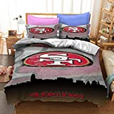 San Francisco American Football Duvet Cover 49ers Sport Theme Bedding Sets Comforter Cover for Kids Teen Boys Girls 1 Duvet Cover with 1 Pillowcase Twin Size