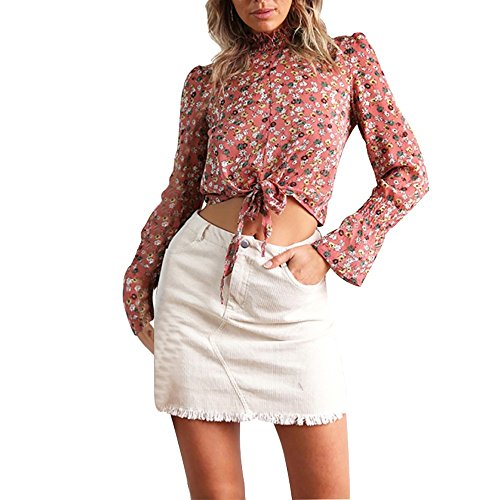 FRAUIT Sexy Crop Top dames vintage print chiffon lange mouwen T-shirts verband-lange mouwen chique blouse