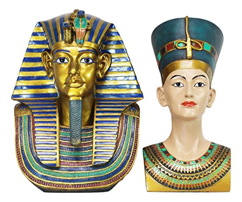 Ebros Large Egyptian Pharaoh King TUT Bust and Queen Nefertiti Statue Set of 2 Classical Ancient Egypt Decorative Figurines