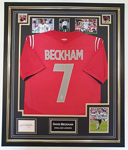 WWW.SIGNEDMEMORABILIASHOP.CO.UK David Beckham of England signierte Karte und Shirt