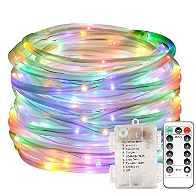 LED Rope Lights, 100 LED Waterproof String Lights Outdoor Tube Lights Battery Operated with Remote Control 8 Modes for Indoor Outdoor Decoration (Multi-Color)